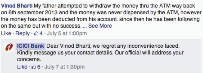 icici-India-customer-service-on-facebook