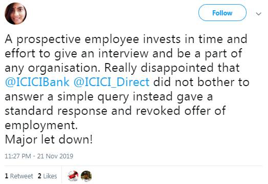 Twitter Review response